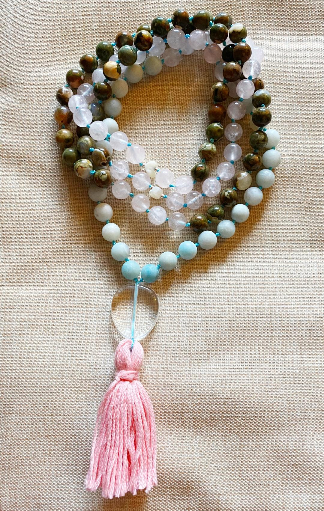 custom meditation mala to aid in clear, grounded, loving communication in your relationships